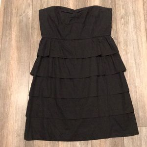 Black party dress with ruffles